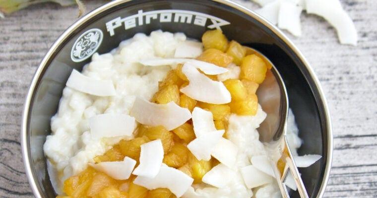 Kokosmilchreis mit karamellisierter Ananas